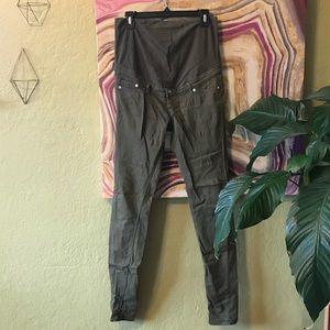 H&M olive army skinny maternity pants jeans sz8